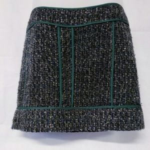 J. CREW Green Piped Wool Mini Skirt Size 6